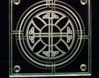 Cetlic Cross Knotwork - Decorative Etched Art Glass Coaster - Layered Design