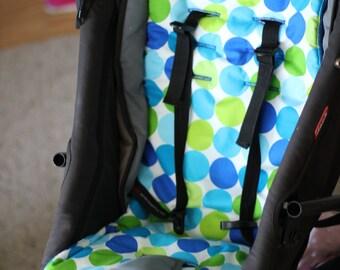 SALE Pram / Stroller Liner - Universal fit - Blue Green Disco Dot Michael Miller fabric baby gift