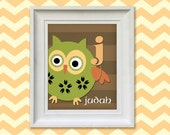 Nursery Art Print - Woodland Owl Monogram 8x10 Personalized Baby Room Decor