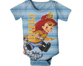 Fireman Baby Bodysuit, Personalized Boy's Fire Fighter Birthday Boy's One Piece Shirt, Onepiece Baby Clothing
