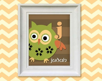 Nursery Art Print - Woodland Owl Monogram 11x14 Personalized Baby Room Decor