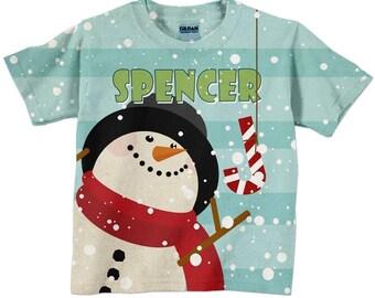 Snowman Shirt, Personalized Christmas Tshirt, Childrens Holiday Clothing