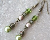 ELEGANT FOREST- Glass Beaded Earrings-Green Pearls and Crystals and Light Brown Spectra Glass Beads- Antique Brass Findings