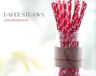 25 White Polka Dots on Red Paper Straws - Standard 7.75'' / 19.68cm
