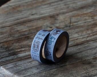 Japanese Washi Tape - Masking Tape roll in Vintage Prints Tape