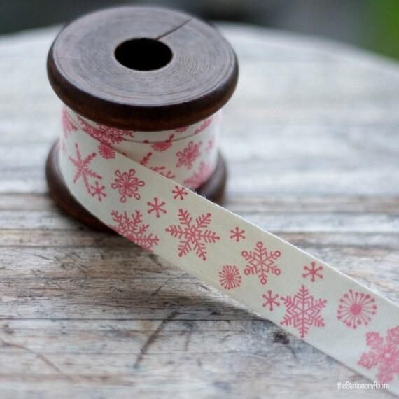 Vintage Christmas Cotton Ribbon Label - Christmas Snowflakes Label Cotton Sewing Tape - Christmas Ribbon