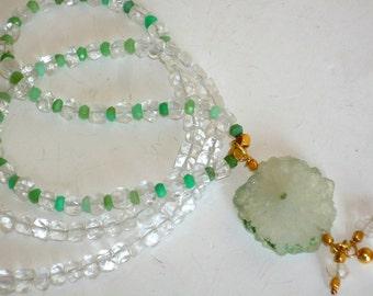 Crystal Quartz and Chrysoprase necklace with Chrysoprase Green  Solar Quartz Stalactite coin, pendant.