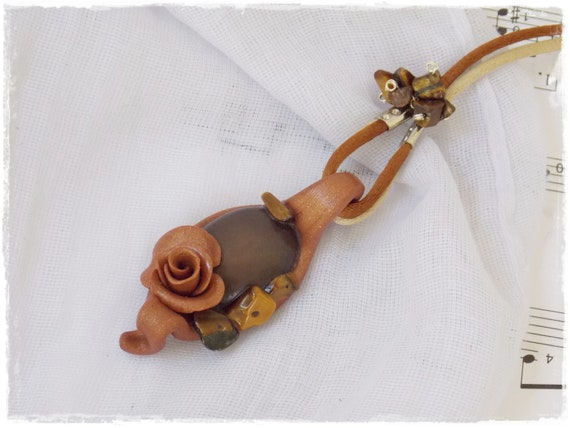 Copper Rose Necklace, Polymer Clay Rose Jewelry - One Of A Kind (OOAK)