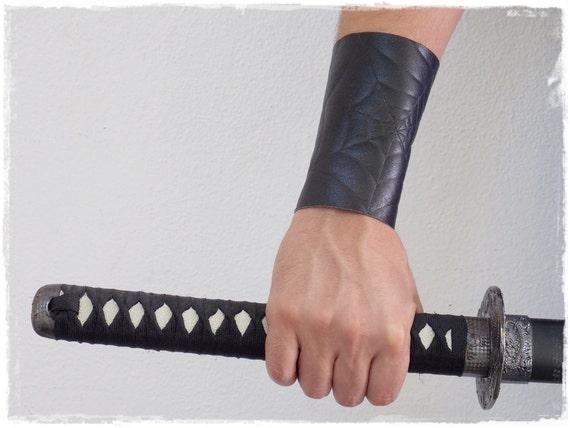 Black Leather Bracer, Fantasy Drow Arm Guard With Spider Web Design, LARP Costume Elven Brace, Spider Clan, Goth Lolita Bracer, Leather Cuff