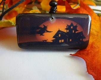 Witches Haunted House Domino Pendant   Halloween Witch Black Cat Domino Jewelry T1231