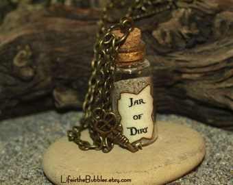 Jar of Dirt Necklace and Key Charm Pirates of the Caribbean, Jack Sparrow and Tia Dalma Dead Man's Chest