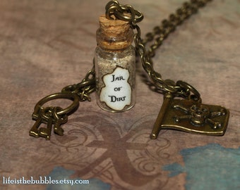 Jar of Dirt Necklace , Key Ring, Jolly Roger Flag Charm Necklace, Pirate Cosplay Costume,  Disney, Pirates of the Caribbean Pirate Jewelry