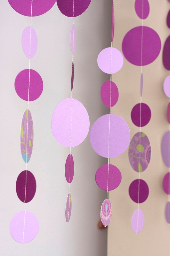 Set of 5 purple lavender circles dangling paper garland baby shower birthday party wedding decoration CLEARANCE