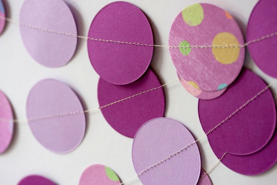 11 feet circle paper garland purple and lavender party decoration birthday party baby shower wedding bridal shower CLEARANCE