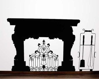 eplace Mantle, Vinyl Decal, Fireplace Mantel, Fireplace Mantel Decor Flames, Mid Century Fireplace, Sticker, Wall Art, Home Decor, Winter