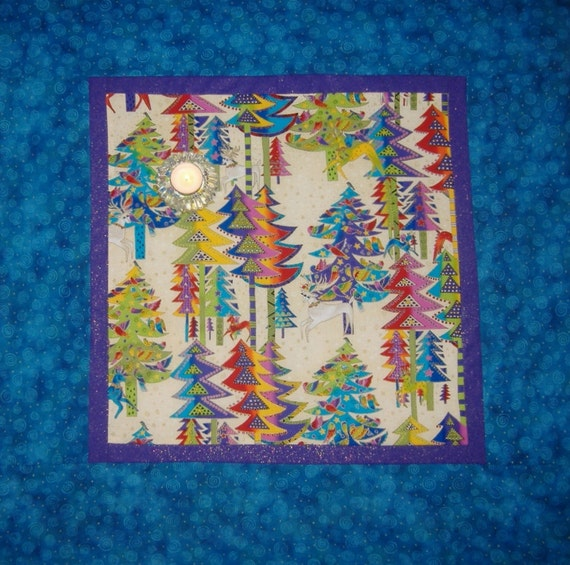 Laurel Burch Table Topper Christmas Trees