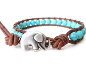 Turquoise elephant bracelet southwestern style, gift for girlfriend, bead jewellery for women and girls