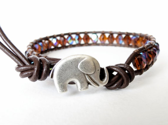 Elephant bracelet in smoked topaz AB & chocolate brown, autumn, fall, good luck bracelet, faceted Czech glass beads
