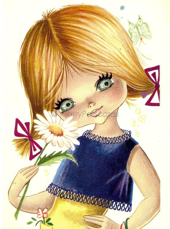 Big Eyed Girl with Daisy, Vintage 70s  postcard by Gallarda