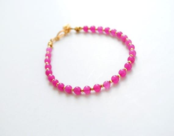 Fuchsia bracelet, friendship bracelet, jade bracelet, fuchsia and gold, gemstone bracelet, layering bracelet, bridesmaid gift, spring trends
