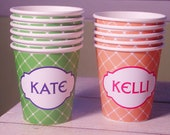 Personalized Hot/Cold Criss Cross Pattern Paper Party Cups - Choose Your Color - Set of 12
