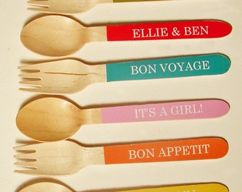 72 Color Choices - Personalized Forks, Spoons or Knives - Set of 20