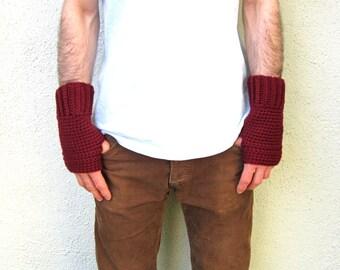 Men's Fingerless Gloves Burgundy