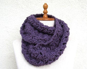 Purple Crochet Scarf Infinity extra large chunky circular circle for woman