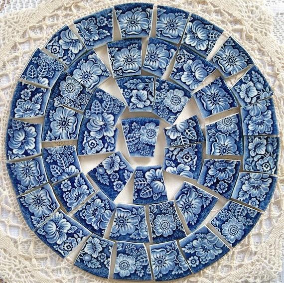 Mosaic Tiles Pretty Liberty Blue and White Rim Border Tiles