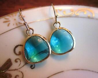 Sea Green Earrings Aqua Gold Plated - Bridesmaid Earrings - Bridal Earrings - Wedding Earrings