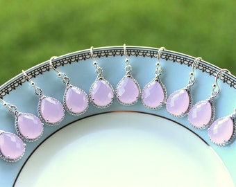 15% OFF SET OF 5 Wedding Jewelry Gift Earrings Bridesmaid Jewelry - Pink Opal Earrings Silver Pink Teardrop Earrings - Bridal Earrings