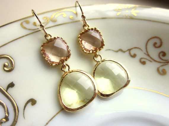 Citrine Earrings Pink Champagne Glass Gold Plated - Bridesmaid Earrings - Wedding Earrings - Valentines Day Gift