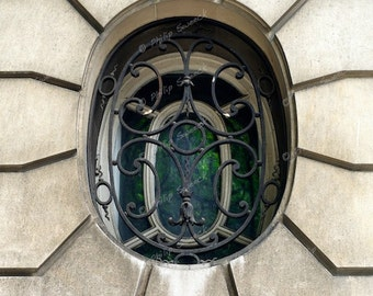 Paris oval window, ornamental architecture, 8x10 print