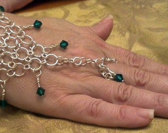 Slave / Handflower Bracelet With Either Bangle or Toggle closure.