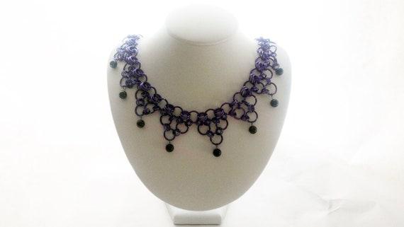Purple Gothic Chainmail Necklace w Black Jasper