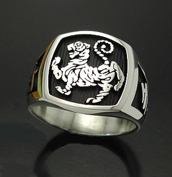 Shotokan Tiger Karate Ring In Sterling Silver Style 016