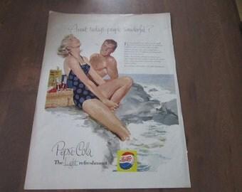 1950s PEPSI COLA vintage soda advertisement man woman swimsuit