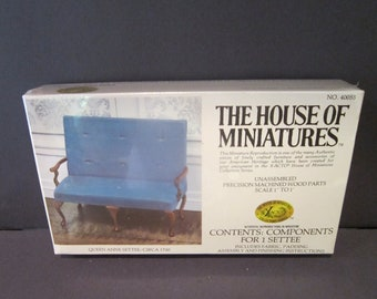 Vintage Dollhouse Settee Kit House of Miniatures 40055 Queen Anne Settee no 40055