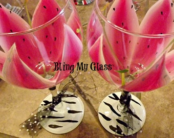 Set Of Two Large Stargazer Lilly Wine Glasses.