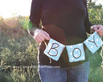 Boy Aqua Burlap Banner- Photo prop - maternity - baby boy - ready to go