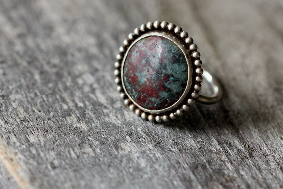 RESERVED for Sue - Sonora Sunrise Chrysocolla, Sterling Ring, Unique Gift, Size 7.5