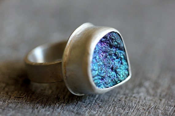 Agate Druzy & Sterling Ring, Peacock Blues and Greens, OOAK Teardrop Cocktail Ring, Size 6