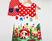 Girls gnomeville dress ,reversible A line pinafore,party dress,toddler,baby,size 1y,2y,3y