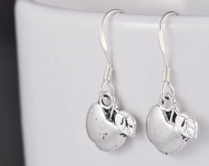 apple earrings, silver earrings, initial earrings, sterling silver earrings, dangle, hanging, initial earring, letter earring, alphabet