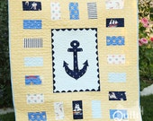 """PDF Quilt Pattern """"Anchors Away"""" Simple Modern Baby Quilt Pattern"""