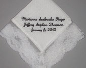 Beautifully Embroidered Wedding Handkerchief with Bridal Dress Lace for the Bride