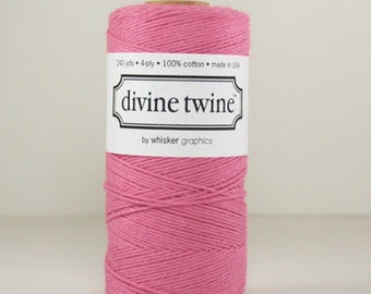 Divine Twine Deep Pink Solid  Bakers Twine 1 Full Spool  240 Yards Made in USA