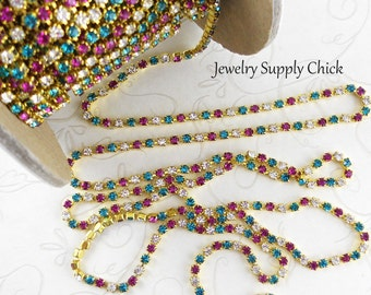 2.5mm Swarovski Multi color rhinestone chain (x1')