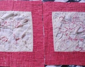2 Vintage REDWORK QUILT BLOCKS, ratty tatty, worn and torn, shabby for crafts, assembledge