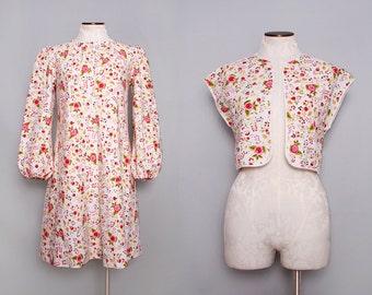 1960s Trapeze Dress. A Line Dress. Pink Floral Dress. Babydoll Dress. Folk Print Dress. Lolita Dress Set. Long Sleeve Dress. Medium Large.